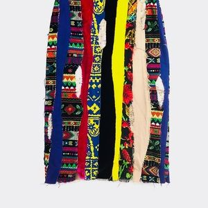 Moschino Striped Patch skirt Multicolor Aztec VTG